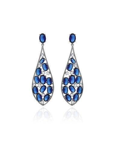 Tophills Diamond Co. 7,40 Ct Pırlanta Efekt  Altın  Giovane Sapphire Küpe Renkli